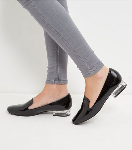 Black Perspex Heel Loafers | New Look