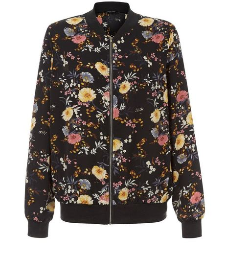 Black Floral Print Bomber Jacket  | New Look