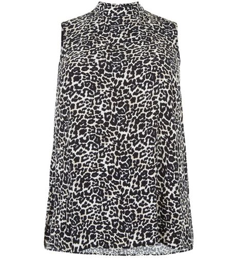 Curves Black Animal Print Cut Out Back Top  | New Look