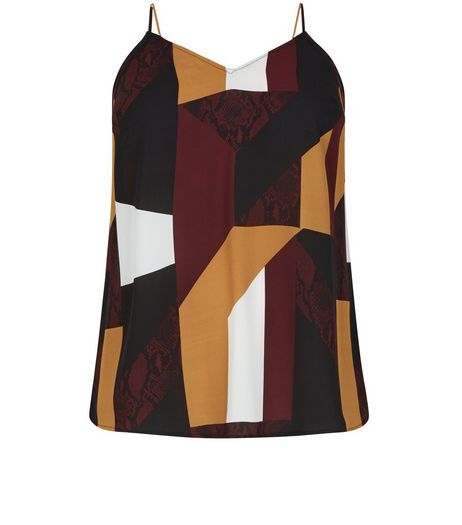 Curves Brown Colourblock Cami | New Look