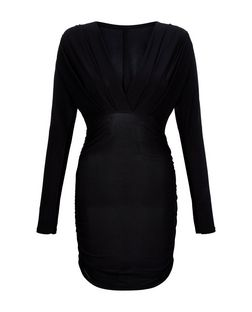 QED Black Ruched Side Long Sleeve Dress | New Look