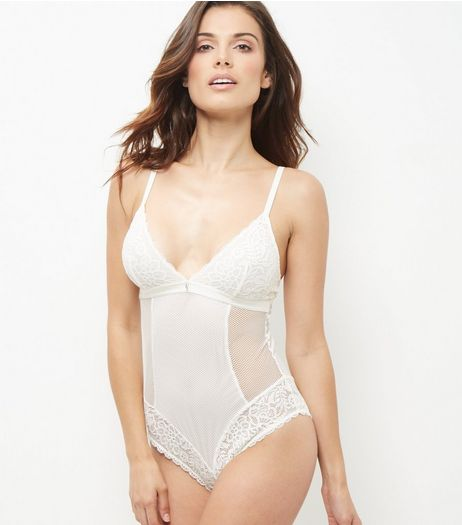 Cream Fishnet Lace Trim Body Suit | New Look
