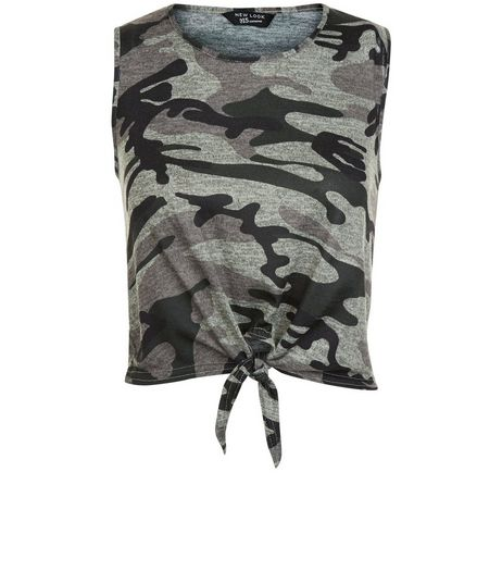 Teens Green Camo Print Tie Front Vest | New Look