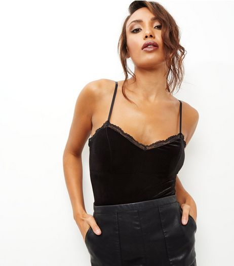 Black Velvet V Neck Cami Bodysuit | New Look