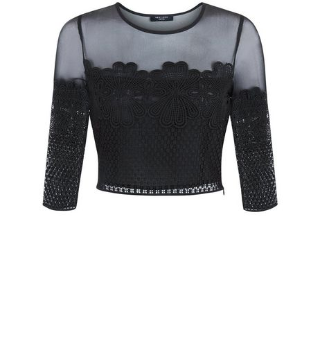 Petite Black Mesh Panel Lace Crop Top | New Look
