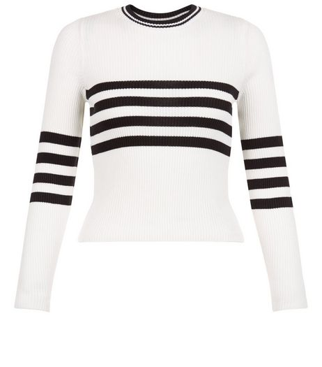 Teens Cream Stripe Ribbed Jumper | New Look
