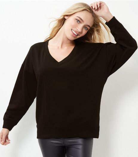 Black V Neck Balloon Sleeve Sweater  | New Look