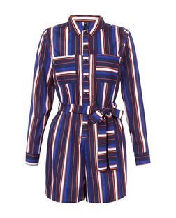 Influence Blue Stripe Belted Playsuit  | New Look