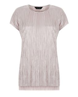 Mid Pink Metallic Pleated T-Shirt | New Look