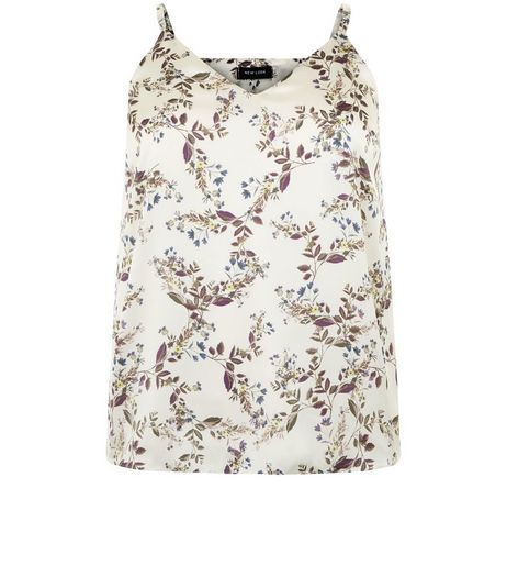 Curves White Floral Print Satin Cami | New Look