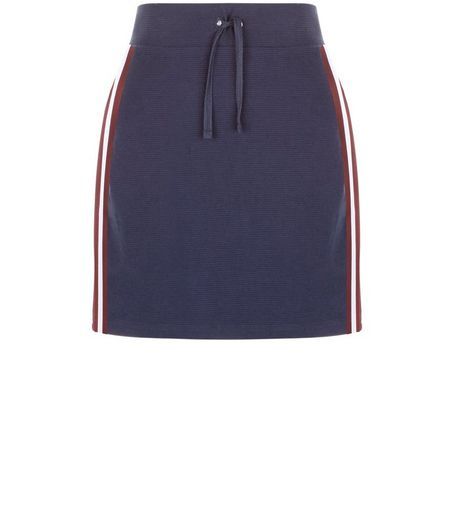Navy Ribbed Tape Stripe Side Mini Skirt  | New Look