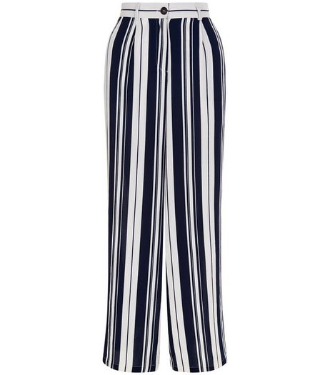 Cameo Rose Blue Stripe Print Wide Leg Trousers | New Look