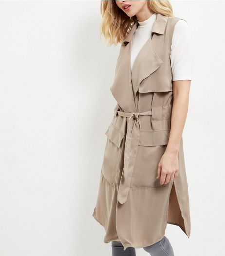Anita and Green Mink Sleeveless Trench Coat | New Look