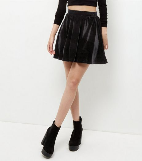 Black Velvet Skater Skirt  | New Look