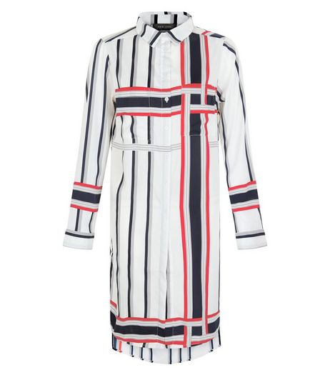 White Contrast Stripe Longline Shirt  | New Look