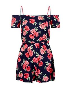 Teens Black Rose Print Cold Shoulder Playsuit | New Look