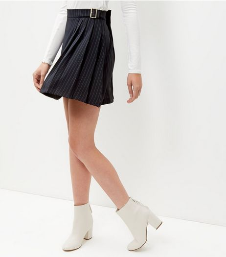 Navy Pinstripe D-Ring Belted Pleated Skirt  | New Look