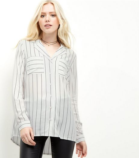 White Stripe Double Pocket Long Sleeve Shirt  | New Look