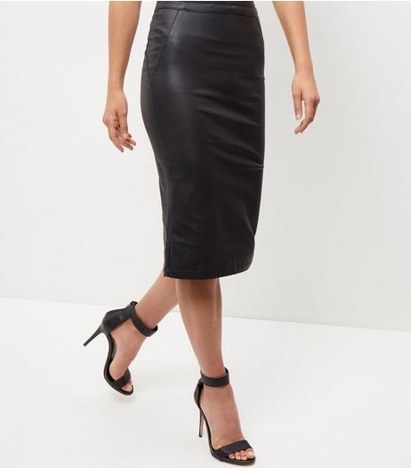 Black Leather-Look Pencil Skirt  | New Look