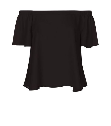 Black Bardot Neck Frill Sleeve Top  | New Look