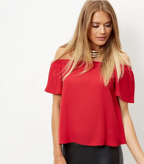 Dark Red Bardot Neck Frill Sleeve Top  | New Look