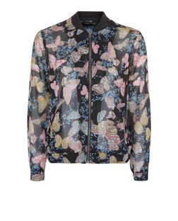Teens Black Butterfly Print Bomber Jacket | New Look
