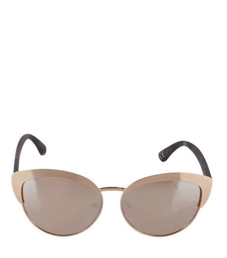 Gold Contrast Arms Cat Eye Sunglasses | New Look