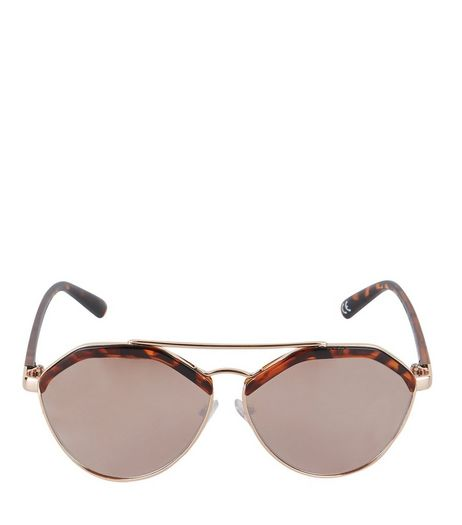 Rose Gold Tortoiseshell Print Pilot Sunglasses | New Look
