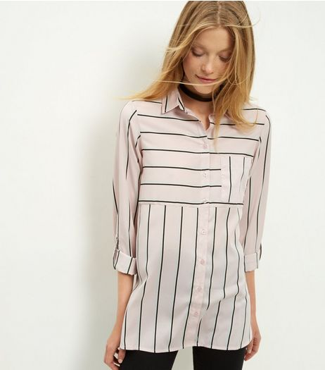 Pink Stripe Contrast Rolled Sleeve Shirt  | New Look