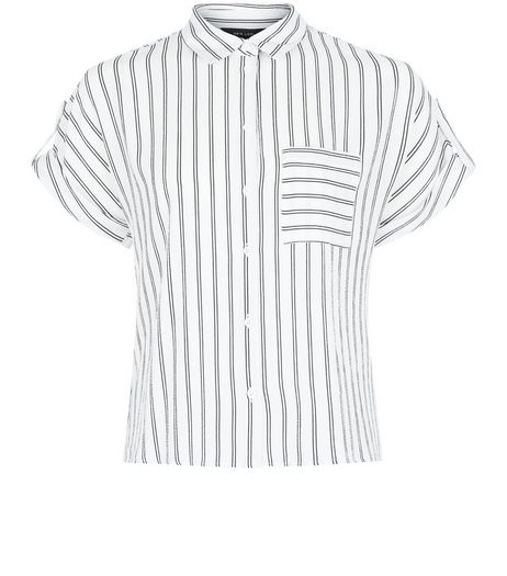 White Stripe Short Sleeve Crop Shirt | New Look