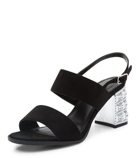 Wide Fit Black Embellished Heeled Sandals | New Look
