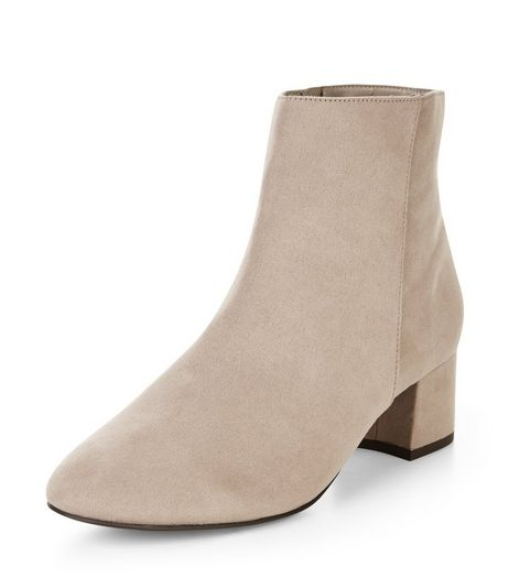 Wide Fit Light Brown Suedette Block Heels  | New Look