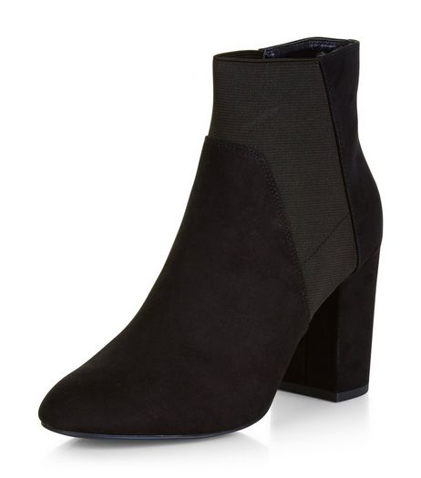 Wide Fit Black Suedette Elasticated Ankle Boots  | New Look