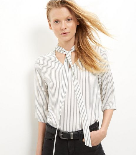 White Stripe Pussybow Shirt | New Look