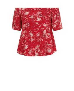 Red Abstract Print Bardot Neck Top  | New Look