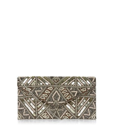 Gold Embellished Beaded Clutch | New Look
