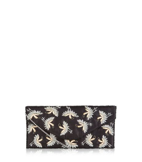 Black Bird Print Embroidered Envolope Clutch | New Look