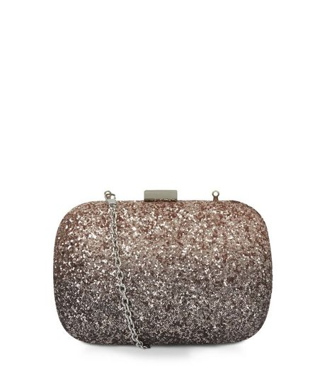 Bronze Glitter Box Shoulder Bag | New Look