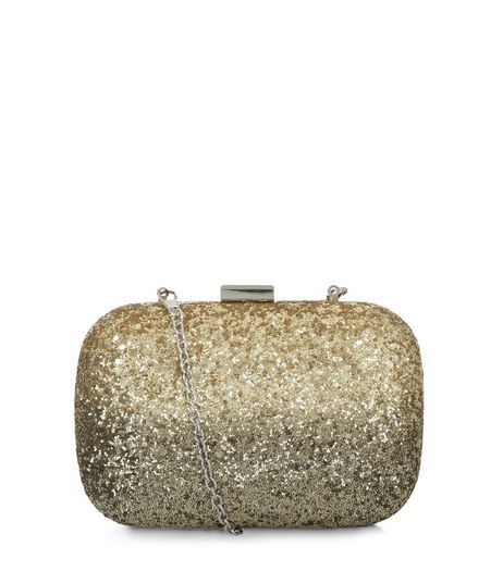 Gold Glitter Box Shoulder Bag | New Look
