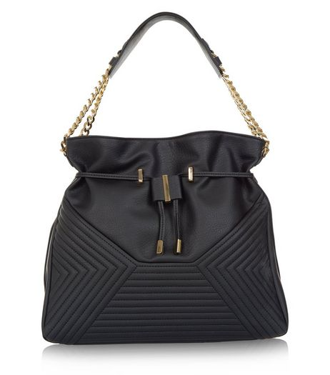 Black Chevron Quilted Shoulder Bag  | New Look