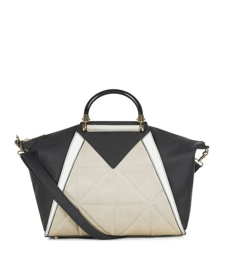 Black Colour Block Tote Bag  | New Look