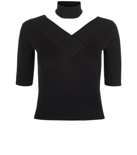 Black Choker V Neck 1/2 Sleeve Jumper  | New Look