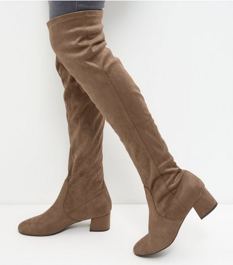 Wide Fit Light Brown Suedette Over The Knee Boots | New Look