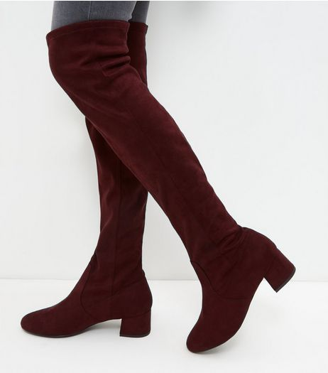 Wide Fit Red Suedette Block Heel Over The Knee Boots | New Look