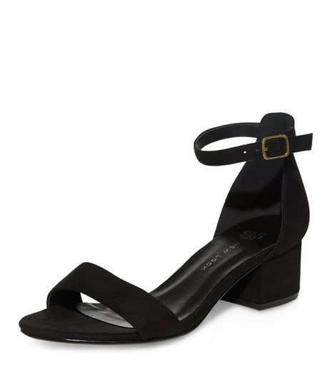 Teens Black Suedette Ankle Strap Block Heels  | New Look