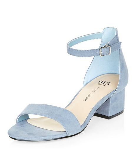 Teens Pale Blue Suedette Block Heel Sandals | New Look