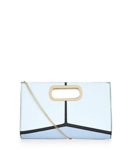 Blue Geo Panelled Metal Handle Clutch | New Look