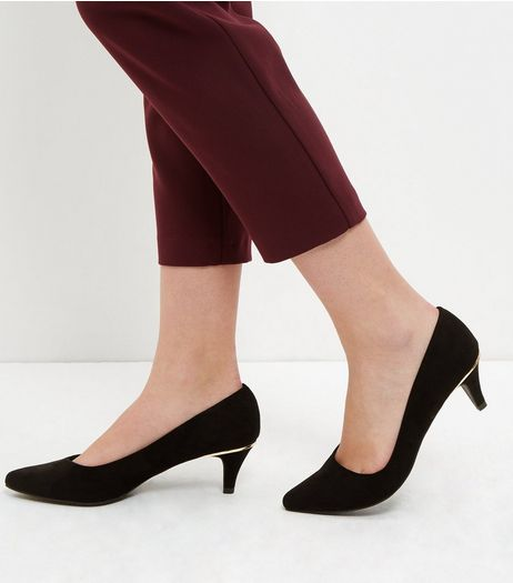 Wide Fit Black Comfort Suedette Pointed Mid Heels  | New Look