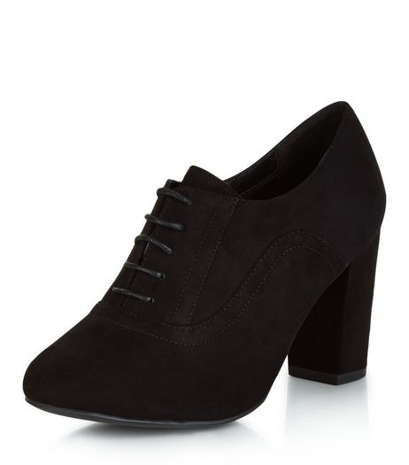 Wide Fit Black Suedette Lace Up Shoe Boots  | New Look
