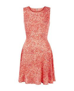 Apricot Coral Abstract Print Skater Dress | New Look